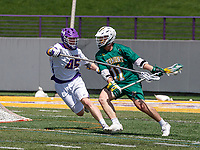 AJ Kluck (#45) defends as Ben French (#11) controls the attack.  UAlbany Lacrosse defeats Vermont 14-4  in the American East Conference Championship game at Casey Stadium, May 5.