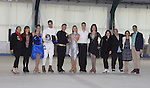 Skaters, 3 celebrity teams, judges and hosts - All Children's Rebecca Budig and Douglas Webster (artistic director) are hosts and also skated pose with competetors Jonathan Hunt and his partner actress Sean Young, Sasha Cohen, David Dorfman, Rebecca, Douglas and  Moira North (founder/director) (L), Nicole Miller at Ice Theatre of New York's Celeb Skate 2013 on June 9, 2013 at the Sky Rink at Chelsea Piers, New York City, New York. (Photo by Sue Coflin/Max Photos)