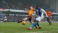 Blackburn Rovers' Amari'i Bell and Oldham Athletic's Cameron Dummigan<br /> <br /> Photographer Stephen White/CameraSport<br /> <br /> The EFL Sky Bet League One - Blackburn Rovers v Oldham Athletic - Saturday 10th February 2018 - Ewood Park - Blackburn<br /> <br /> World Copyright &copy; 2018 CameraSport. All rights reserved. 43 Linden Ave. Countesthorpe. Leicester. England. LE8 5PG - Tel: +44 (0) 116 277 4147 - admin@camerasport.com - www.camerasport.com