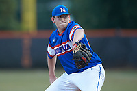 Mooresville Post 66 starting pitcher Jaxon Mays (26) in action against Kannapolis Post 115 during an American Legion baseball game at Northwest Cabarrus High School on May 30, 2019 in Concord, North Carolina. Mooresville Post 66 defeated Kannapolis Post 115 4-3. (Brian Westerholt/Four Seam Images)