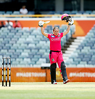 3rd November 2019; Western Australia Cricket Association Ground, Perth, Western Australia, Australia; Womens Big Bash League Cricket, Sydney Sixers verus Melbourne Stars; Alyssa Healy of the Sydney Sixers acknowledges the applauds on reaching her hundred - Editorial Use