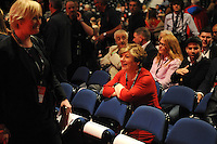 Liverpool, England. 24th September, 2016. <br /> Emily Thornberry, shadow foreign secretary and shadow secretary for exiting the EU, shares a joke prior to the announcement of the new leader of the Labour Party at the ACC Conference Centre.The leadership race involved nine weeks of campaigning between Labour leader Jeremy Corbyn and Owen Smith. This is his second leadership election in just over twelve months and was initiated by the decision of Angela Eagle to stand against him. Kevin Hayes/Alamy Live News
