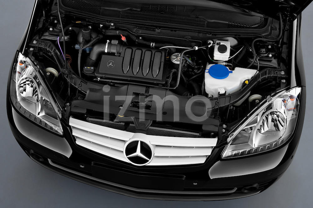 High angle engine detail of a 2009 Mercedes A Class Blue Efficiency 3 Door Mini MPV .