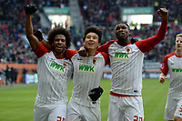 l-r:  of  Francisco da Silva Caiuby #30 (FC Augsburg), Ja-Cheol Koo #19 (FC Augsburg), Kevin Danso #38 (FC Augsburg), FC Augsburg vs. Eintracht Frankfurt, 1.Bundesliga, 04.02.2018 *** Local Caption *** © pixathlon<br /> Contact: +49-40-22 63 02 60 , info@pixathlon.de