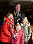 Hannah and Keelin Donnelly and Leah Mohan with Mayor of Drogheda Paul Bell pictured at the Rainbow Club kids christmas party ant Funtasia. Photo:Colin Bell/pressphotos.ie