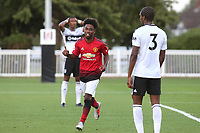Angel Gomes celebrates scoring Manchester United U23's opening goal during Fulham Under-23 vs Manchester United Under-23, Premier League 2 Football at Motspur Park on 10th August 2018