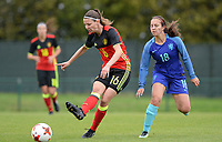 20170914 - TUBIZE ,  BELGIUM : Belgian Nicky Van Den Abbeele (l)  pictured in a duel with Dutch Vanity Lewerissa (right) during the friendly female soccer game between the Belgian Red Flames and European Champion The Netherlands , a friendly game in the preparation for the World Championship qualification round for France 2019, Thurssday 14 th September 2017 at Euro 2000 Center in Tubize , Belgium. PHOTO SPORTPIX.BE | DAVID CATRY