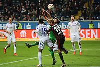 Christian Mathenia (Darmstadt) klaert gegen Stefan AIgner (Eintracht) - Eintracht Frankfurt vs. SV Darmstadt 98, Commerzbank Arena