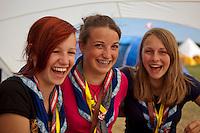 Anna Lisa, Annabel, Viktoria. from the Austrian contingent. Photo: Kim Rask/Scouterna