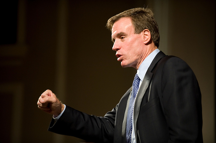 Former Governor of Virginia Mark Warner holds a town hall meeting in downtown Blacksburg Virginia at the Lyric Theatre on October 23, 2008.