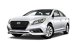 Stock pictures of low aggressive front three quarter view of 2016 Hyundai Sonata Hybrid SE 4 Door Sedan Low Aggressive