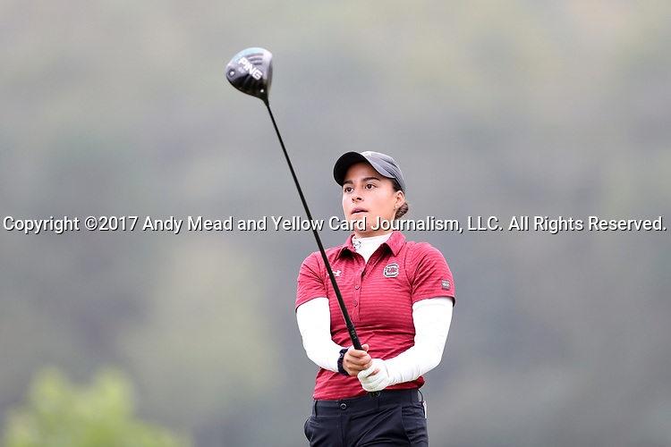 CHAPEL HILL, NC - OCTOBER 15: South Carolina's Isidora Nilsson on the 1st tee. The third and final round of the Ruth's Chris Tar Heel Invitational Women's Golf Tournament was held on October 15, 2017, at the UNC Finley Golf Course in Chapel Hill, NC.