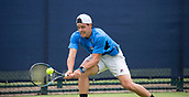 June 11th 2017, Nottingham, England; ATP Aegon Nottingham Open Tennis Tournament day 2;  Alex Bolt of Australia reaches low for a forehand in his match against Mackenzie McDonald of USA