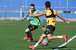 Getafe's Vitorino Antunes (l) and Angel Rodriguez during training session. May 19,2020.(ALTERPHOTOS/Acero)