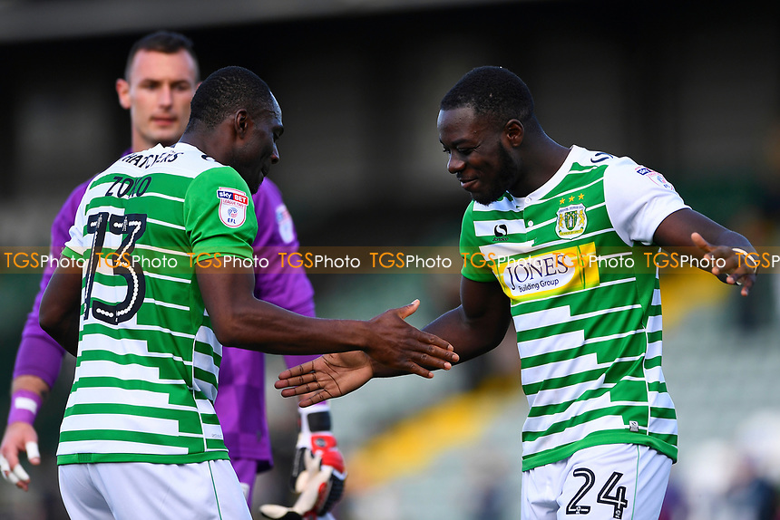 Yeovil Town goalscorers Olufela Olomola right and Francois Zoko celebrate at the final whistle during Yeovil Town vs Accrington Stanley, Sky Bet EFL League 2 Football at Huish Park on 12th August 2017