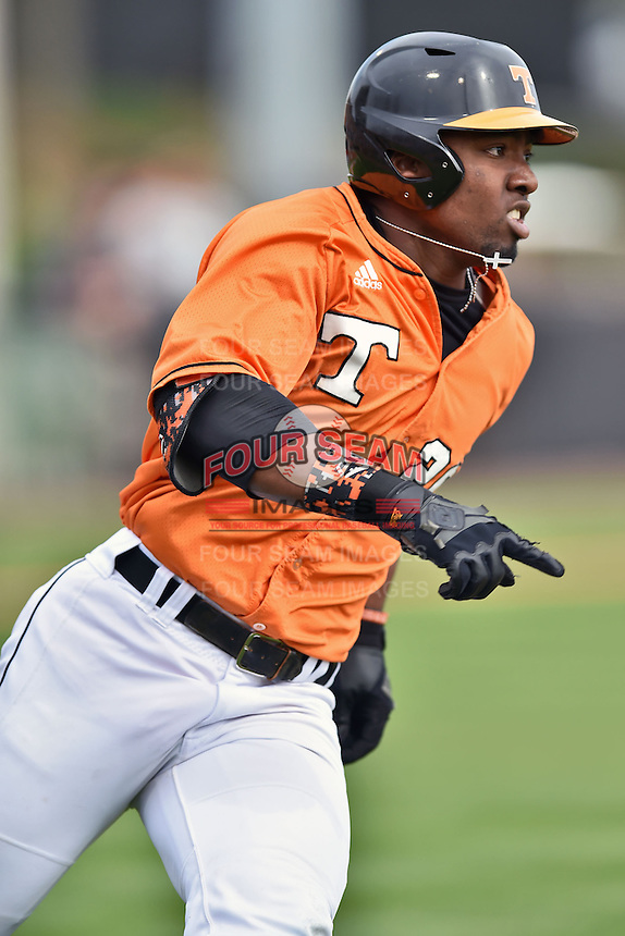 Tennessee Volunteers left fielder Christin Stewart (20) runs to first during a game against the Georgia Bulldogs at Lindsey Nelson Stadium March 21, 2015 in Knoxville, Tennessee. The Bulldogs defeated the Volunteers 12-7. (Tony Farlow/Four Seam Images)
