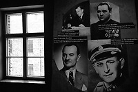 Auschwitz / Poland 2011.Auschwitz I Nazi extermination camp..Photographs in Auschwitz Museum. On the right Adolf Eichmann, SS-Obersturmbannführer (Lieutenant Colonel) and one of the major organizers of the Holocaust..Photo Livio Senigalliesi