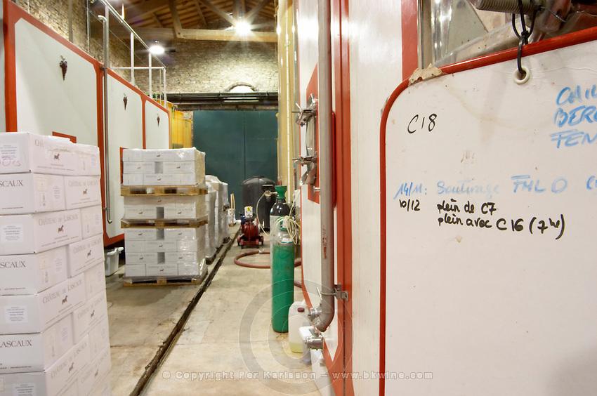 Chateau de Lascaux, Vacquieres village. Pic St Loup. Languedoc. Concrete fermentation and storage vats. Sign on tank. France. Europe.