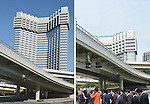 April 1, 2013, Tokyo, Japan - Demolition work continues for the Grand Prince Hotel Akasaka in the heart of Tokyo on January 11, left, and April 1, 2013. Once the building is totally demolished in May, railway and hotel operator Seibu Holdings will construct two buildings - a 36-story structure consisting of offices, a hotel and a commercial complex; and a 24-story building comprising rental apartments that are scheduled to open in summer 2016. (Photo by Natsuki Sakai/AFLO).