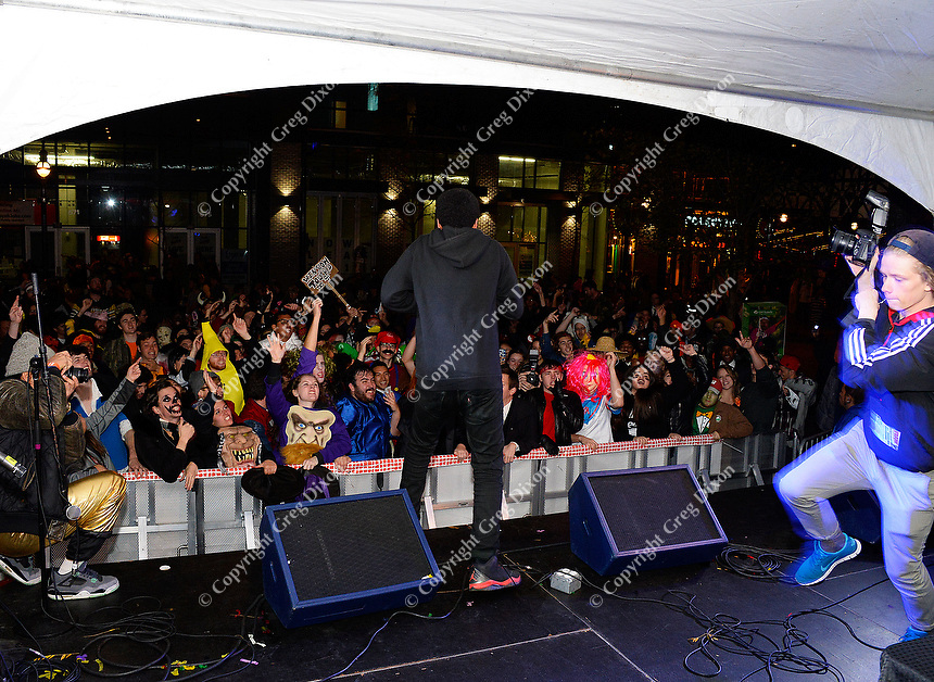 CRASHprez entertains the crowd at Freak Fest on Saturday during Freakfest 2015 on State Street in Madison, Wisconsin