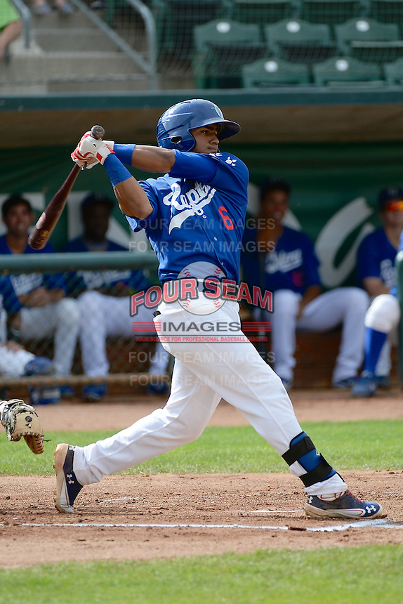 Jesmuel Valentin (6) of the Ogden Raptors at bat against the Grand Junction Rockies in Pioneer League play at Lindquist Field on September 8, 2013 in Ogden Utah.  (Stephen Smith/Four Seam Images)