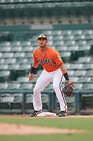 Baltimore Orioles J.C. Escarra (72) during a Florida Instructional League game against the Boston Red Sox on October 8, 2018 at the Ed Smith Stadium in Sarasota, Florida.  (Mike Janes/Four Seam Images)