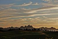 Sunset, Grand Tetons, backlight hills, Togwotee Pass, Moran, Wyoming