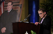 Associate Justice of the Supreme Court Ruth Bader Ginsburg speaks at the memorial service for the late Associate Justice of the Supreme Court Antonin Scalia at the Mayflower Hotel in Washington, DC, Tuesday, March 1, 2016. <br /> Credit: Susan Walsh / Pool via CNP