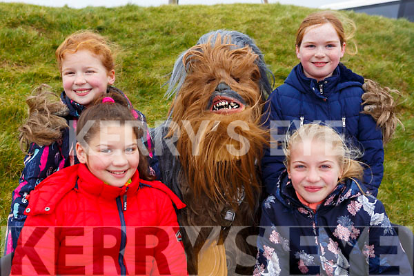 Enjoying the annual Lidl sponsored Comórtas Peile Páidi Ó Sé 2018 in Gallarus on Sunday last. In front Fiadh and Rubi Ni Chinneide. Standing l to r: Eabha Ni Chinneide, Chewbacca (Muiris Walsh) and Aisling Ni Chinneide.