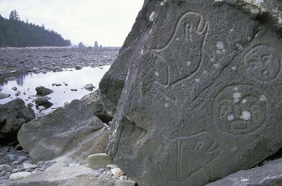Petroglyphs at Wedding Rocks, Olympic National Park Washington