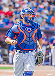8 March 2015: New York Mets catcher Travis d'Arnaud in Spring Training action against the Boston Red Sox at Tradition Field in Port St. Lucie, Florida. The Mets fell to the Red Sox 6-3 in Grapefruit League play. Mandatory Credit: Ed Wolfstein Photo *** RAW (NEF) Image File Available ***