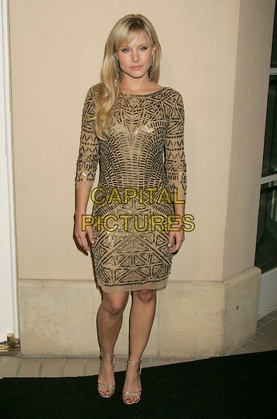 KRISTEN BELL.ELLE Magazine's 14th Annual Women in Hollywood held at the Four Seasons Hotel,  Beverly Hills, California, USA.October 15th, 2007.full length gold dress sequined sequins beads beaded .CAP/ADM/RE.©Russ Elliot/AdMedia/Capital Pictures.