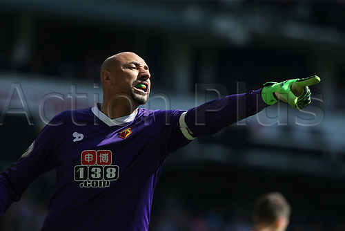 April 8th 2017,White Hart Lane, Tottenham, London, England; EPL Premier league football, Tottenham Hotspur versus Watford; Goalkeeper Heurelho Gomes of Watford shouting instructions to his players