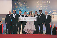 CANNES, FRANCE - May 09 2018: (L-R) President of the festival Pierre Lescure, Producer Ilya Stewart, actors Roman Bilyk, Irina Starshenbaum, actor Teo Yoo, Cannes Film Festival Director Thierry Fremaux and actor Charles-Evrard Tchekhoff with a sign to free Director Kirill Serebrennikov attend the screening of 'Leto' during the 71st annual Cannes Film Festival at Palais des Festivals on May 9, 2018 in Cannes, France.<br /> Picture: Kristina Afanasyeva/Featureflash/SilverHub 0208 004 5359 sales@silverhubmedia.com