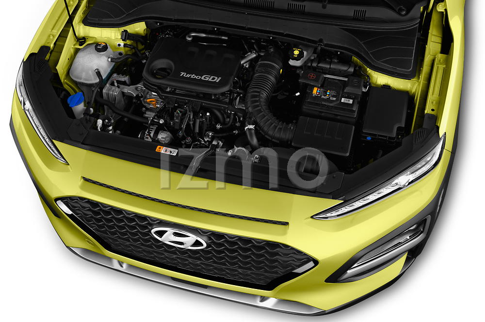 Car stock 2018 Hyundai Kona Luxury Launch 5 Door SUV engine high angle detail view