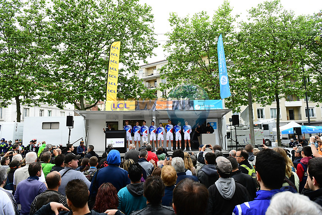 FDJ on the podium for the team presentation before Stage 1 of the Criterium du Dauphine 2017, running 170.5km from Saint Etienne to Saint Etienne, France. 4th June 2017. <br /> Picture: ASO/A.Broadway | Cyclefile<br /> <br /> <br /> All photos usage must carry mandatory copyright credit (&copy; Cyclefile | ASO/A.Broadway)