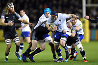 Paul Grant of Bath Rugby takes on the Newcastle Falcons defence. Aviva Premiership match, between Newcastle Falcons and Bath Rugby on February 16, 2018 at Kingston Park in Newcastle upon Tyne, England. Photo by: Patrick Khachfe / Onside Images