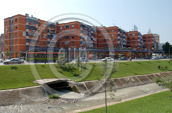 Tirana/Tirane-Albania - August 08, 2004---A main street with new apartment buildings, along a recently cleaned and redesigned channnel, in the center of Tirana, capital city of Albania; transport-infrastructure---Photo: Horst Wagner/eup-images