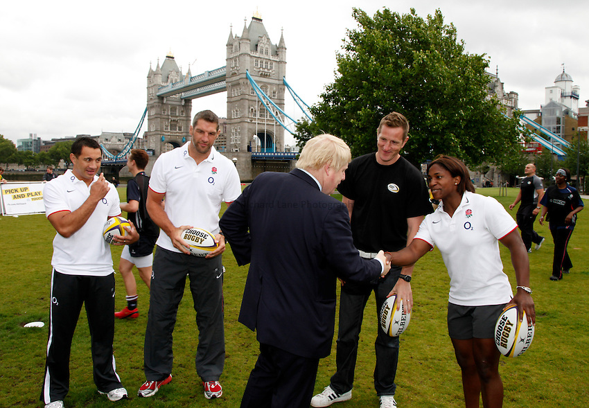 Photo: Richard Lane/Richard Lane Photography. O2 Touch Launch, an RFU initiative aiming to get England playing touch rugby at Potters Field, London. 17/06/2011. Mayor of London, Boris Johnson meets England's Maggie Alphonsi.