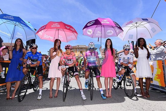The leaders jerseys lined up before the start of Stage 15 of the 100th edition of the Giro d'Italia 2017, running 199km from Valdengo to Bergamo, Italy. 21st May 2017.<br /> Picture: LaPresse/Gian Mattia D'Alberto | Cyclefile<br /> <br /> <br /> All photos usage must carry mandatory copyright credit (&copy; Cyclefile | LaPresse/Gian Mattia D'Alberto)