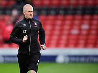Lincoln City assistant sports therapist Luke Treadwell during the pre-match warm-up<br /> <br /> Photographer Chris Vaughan/CameraSport<br /> <br /> The EFL Sky Bet League Two - Lincoln City v Crewe Alexandra - Saturday 6th October 2018 - Sincil Bank - Lincoln<br /> <br /> World Copyright &copy; 2018 CameraSport. All rights reserved. 43 Linden Ave. Countesthorpe. Leicester. England. LE8 5PG - Tel: +44 (0) 116 277 4147 - admin@camerasport.com - www.camerasport.com