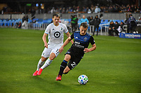 SAN JOSE, CA - MARCH 7: Tommy Thompson #22 of the San Jose Earthquakes is marked by Robin Lod #17 of Minnesota United during a game between Minnesota United FC and San Jose Earthquakes at Earthquakes Stadium on March 7, 2020 in San Jose, California.