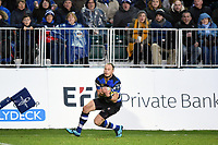 Jack Wilson of Bath Rugby claims the ball. Anglo-Welsh Cup match, between Bath Rugby and Newcastle Falcons on January 27, 2018 at the Recreation Ground in Bath, England. Photo by: Patrick Khachfe / Onside Images