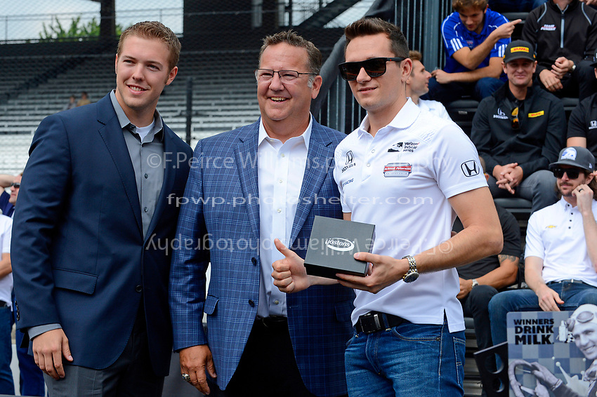 Verizon IndyCar Series<br /> Indianapolis 500 Drivers Meeting<br /> Indianapolis Motor Speedway, Indianapolis, IN USA<br /> Saturday 27 May 2017<br /> Starter's ring presentation: Mikhail Aleshin, Schmidt Peterson Motorsports Honda<br /> World Copyright: F. Peirce Williams