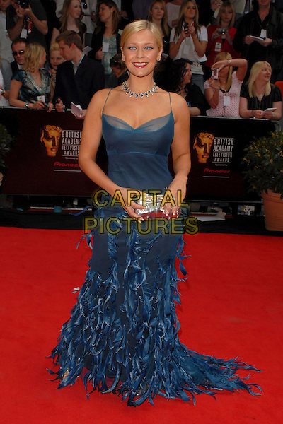 SUZANNE SHAW.Arrivals at the British Academy Television Awards, (BAFTA's) held at Grosvenor House Hotel, London, UK..May 7th 2006.Ref: CAN.bafta baftas full length blue feather dress silver clutch purse.www.capitalpictures.com.sales@capitalpictures.com.©Capital Pictures