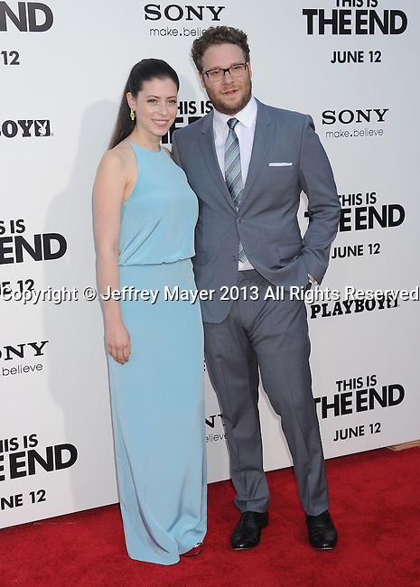 WESTWOOD, CA- JUNE 03: Actor/Director/Producer Seth Rogen (R) and wife Lauren Miller arrive at the 'This Is The End' - Los Angeles Premiere at Regency Village Theatre on June 3, 2013 in Westwood, California.