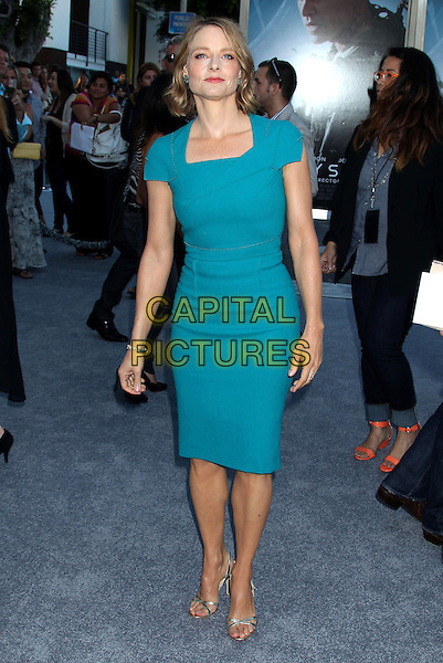 Jodie Foster<br /> &quot;Elysium&quot; Los Angeles Premiere held at the Regency Village Theatre, Westwood, California, UK,<br /> 7th August 2013.<br /> full length blue turquoise dress teal <br /> CAP/ADM/RE<br /> &copy;Russ Elliot/AdMedia/Capital Pictures