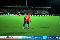 England's Lewis Gregory is beaten on the boundary during the 4th Twenty20 International cricket match between NZ Black Caps and England at McLean Park in Napier, New Zealand on Friday, 8 November 2019. Photo: Dave Lintott / lintottphoto.co.nz