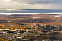 Historic gold mining dredge in Nome, Alaska, Norton Sound, Bering Sea.