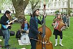 The Tweed Run London UK. Band playing Princess Gardens SW7